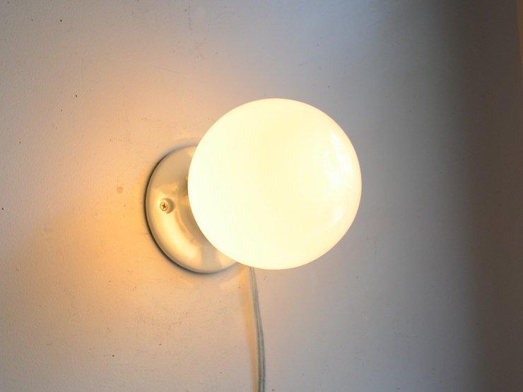 [new] 丸形ガラスシェード付き 陶器ライト