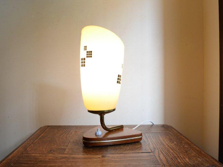 ヴィンテージ ガラスシェード付 木製テーブルランプ