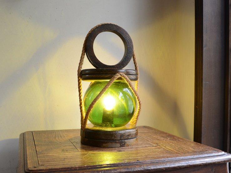 ヴィンテージ ガラス付木製テーブルランプ(H30cm)