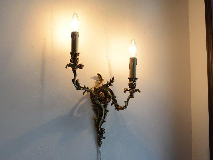 アンティーク 真鍮2灯ウォールランプ A