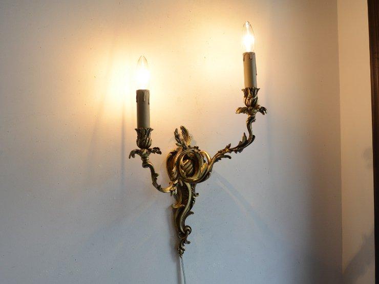 アンティーク 真鍮2灯ウォールランプ B