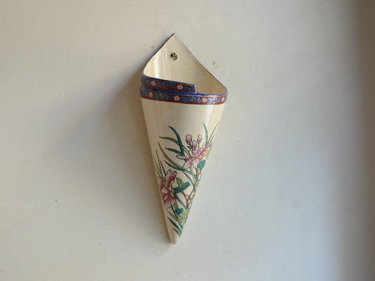 [new] お花柄壁掛け陶器フラワーベース