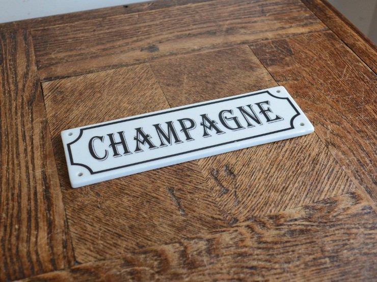 CHAMPAGNE(シャンパン)陶器 サインプレート