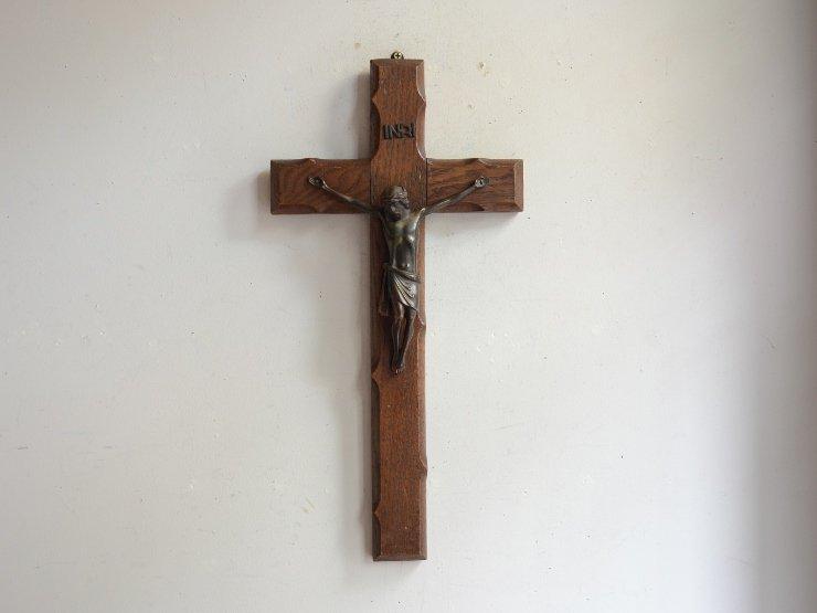 [new] アンティーク木製クロス ウォールデコレーション(H40cm)