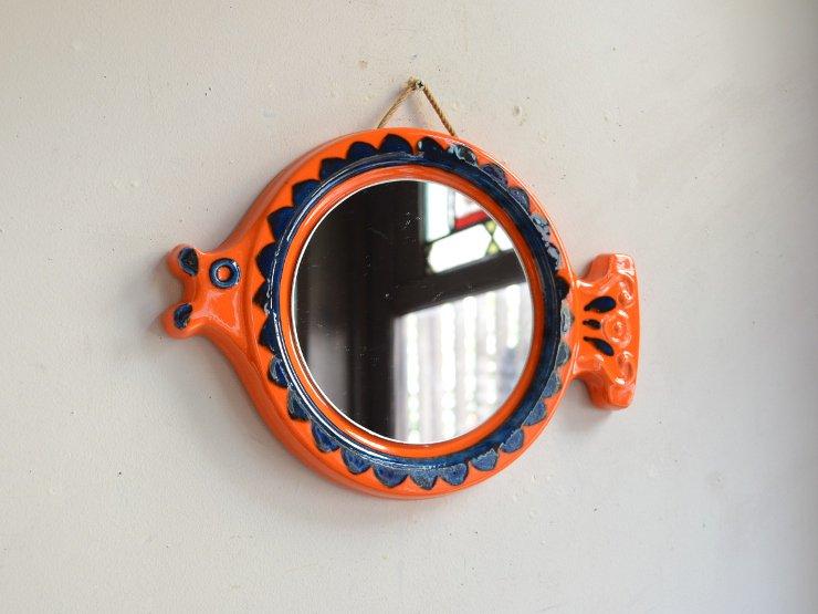 [new] ヴィンテージ お魚モチーフ陶器ミラー