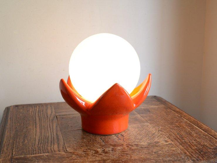 ヴィンテージ ガラスシェード付 陶器テーブルランプ
