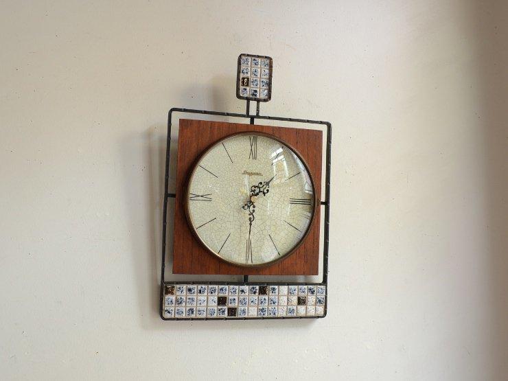 [new] ヴィンテージ アイアン&タイル ウォールクロック(壁掛け時計)