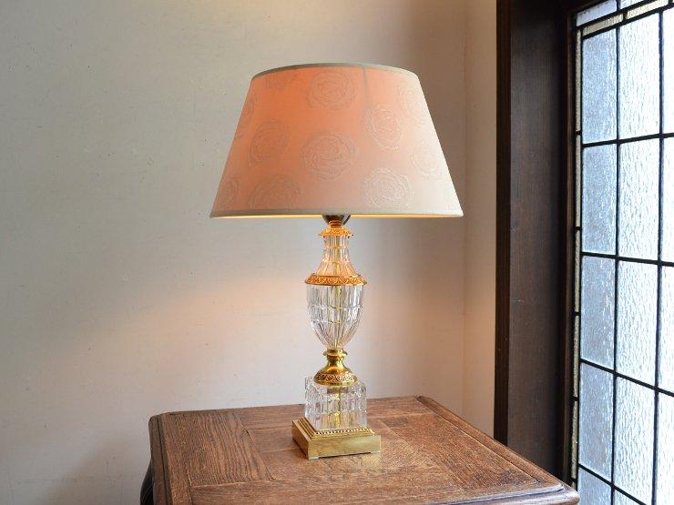 [new] ヴィンテージ クリスタルガラス テーブルランプ(H44cm)