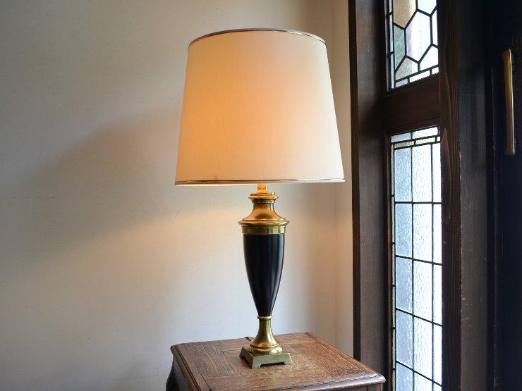 ヴィンテージ シェード付き 真鍮テーブルランプ(H76cm)