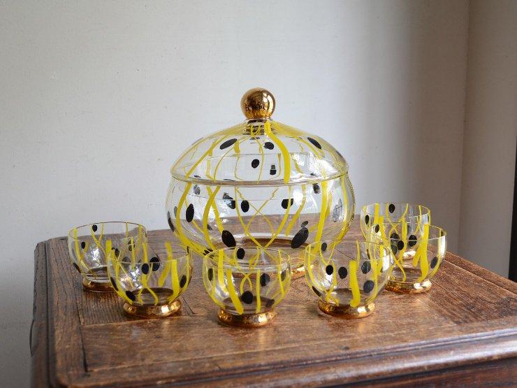 [new] ヴィンテージ デザインガラスパンチボウルset