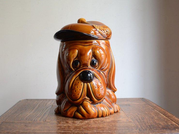 [new] ヴィンテージ 犬モチーフ陶器 ポット(ビスケットジャー)