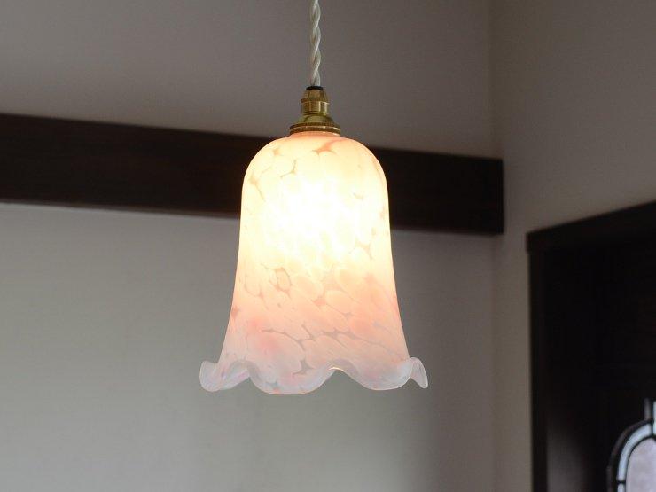 マーブル フリルガラス ペンダントランプ