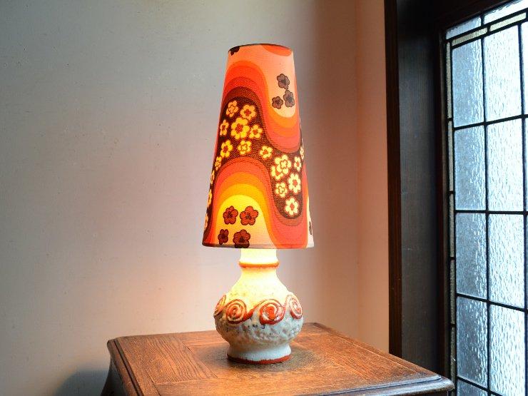 [new] ヴィンテージ 陶器 テーブルランプ (H48cm)