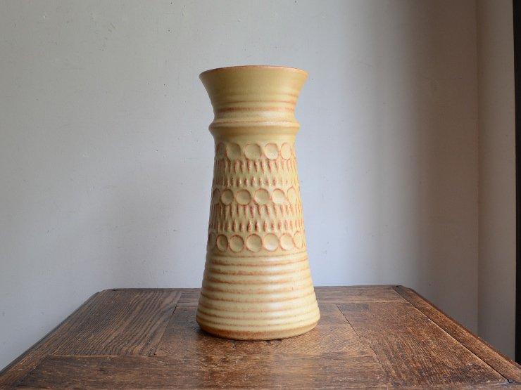 [new] ヴィンテージ 陶器フラワーベース(H25cm)