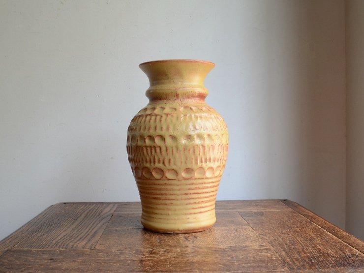 [new] ヴィンテージ 陶器フラワーベース(H20cm)