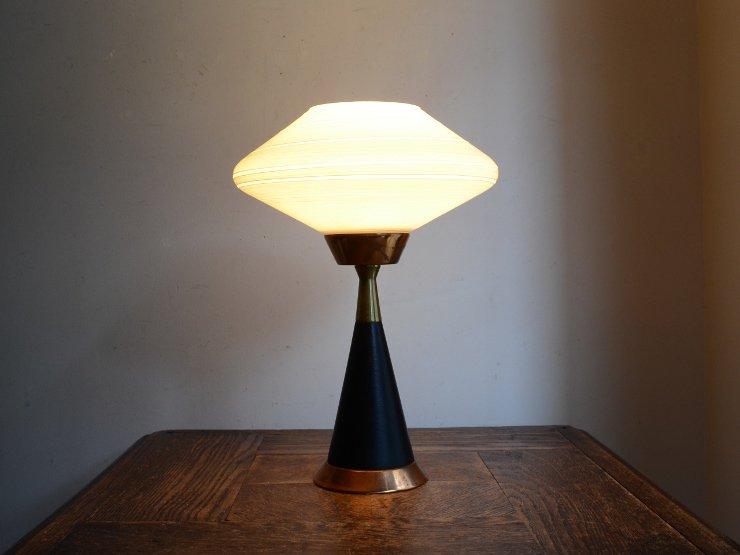ヴィンテージ ガラスシェード付 木製テーブルランプ(H27cm)