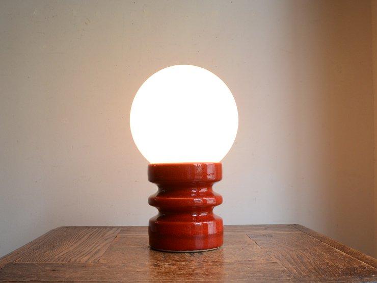 [new] ヴィンテージ ガラスシェード付 陶器テーブルランプ (H22cm)