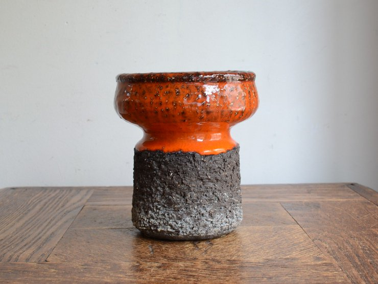 [new] ヴィンテージ 陶器フラワーベース(H12cm)