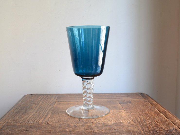 [new] ヴィンテージ ブルーガラスフラワーベース (H20.5cm)