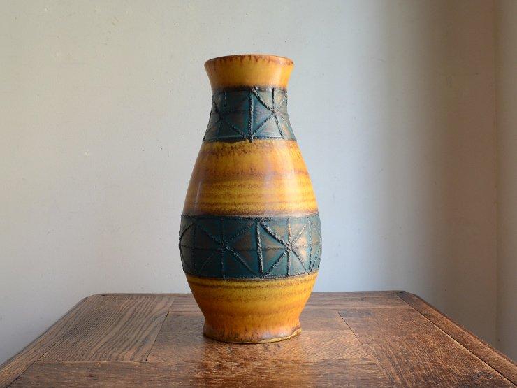 [new] ヴィンテージ 陶器フラワーベース(H22.5cm)