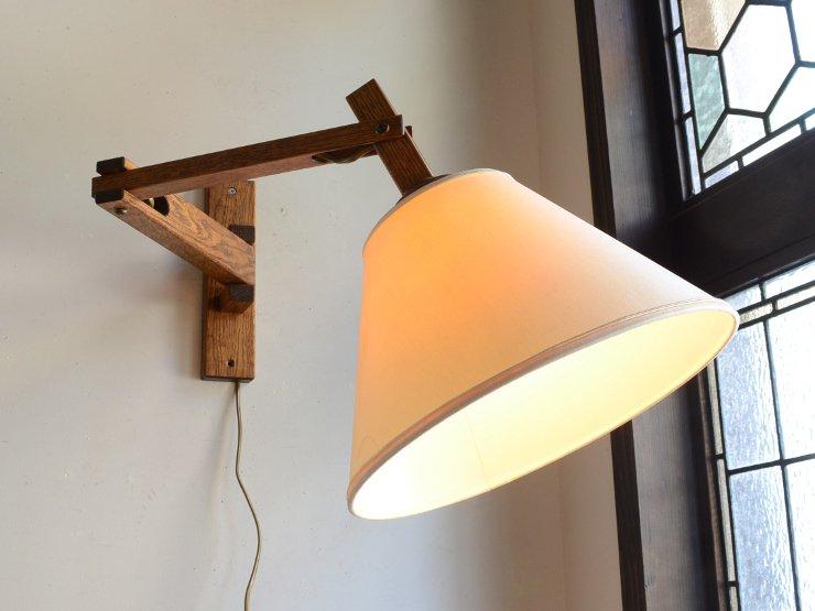 ヴィンテージ シェード付木製アームウォールランプ