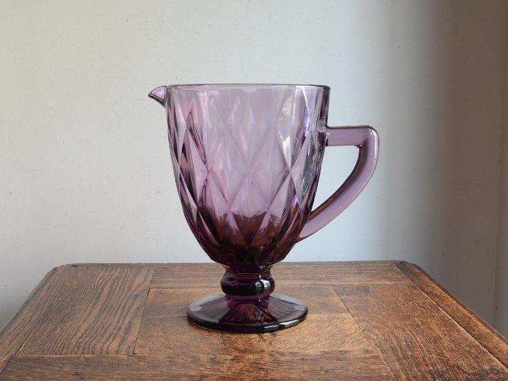 ヴィンテージ パープルガラス フラワーベース (H20cm)