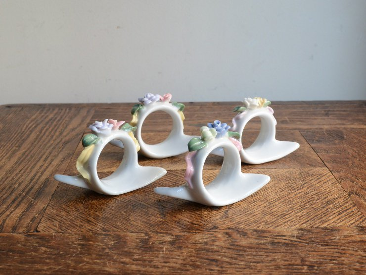 ヴィンテージ 陶器 ナプキンリングセット
