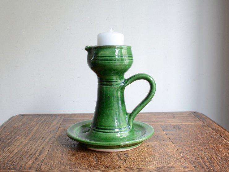 [new] ヴィンテージ 陶器キャンドルスタンド(H14.5cm)