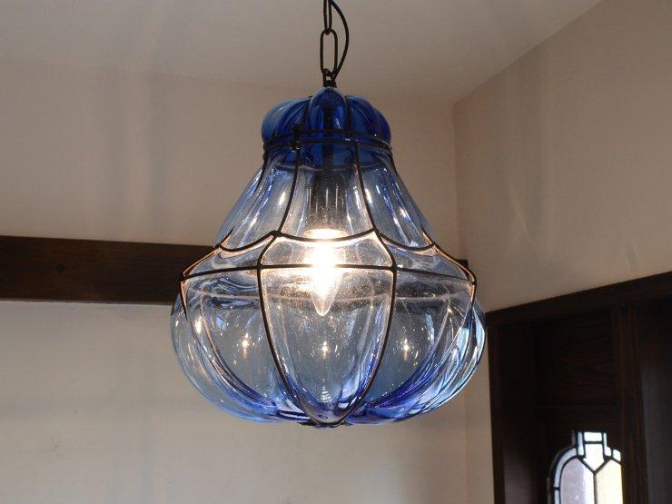 ヴィンテージ ブルー吹きガラス ペンダントランプ