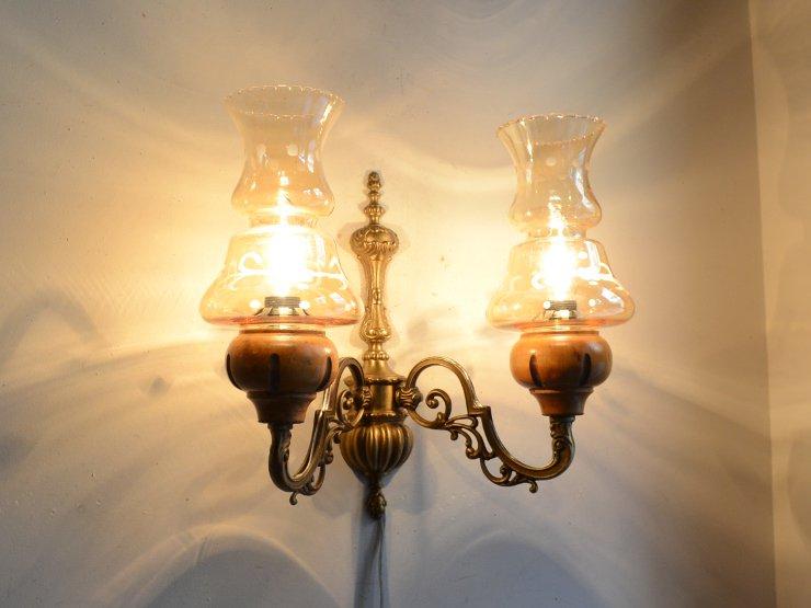 ヴィンテージ ガラスシェード付 2灯真鍮ウォールランプ