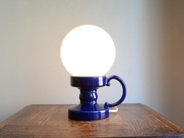 ヴィンテージ ガラスシェード付 陶器テーブルランプ(H24cm)