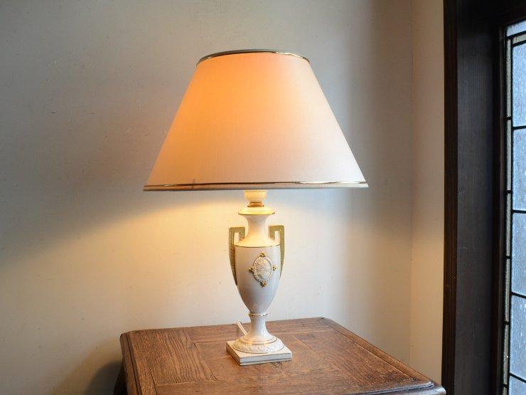 [new] ヴィンテージ シェード付き陶器テーブルランプ (H46.5cm)
