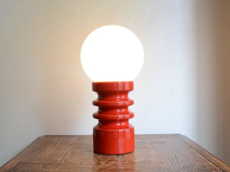[new] ヴィンテージ ガラスシェード付 陶器テーブルランプ (H28cm)