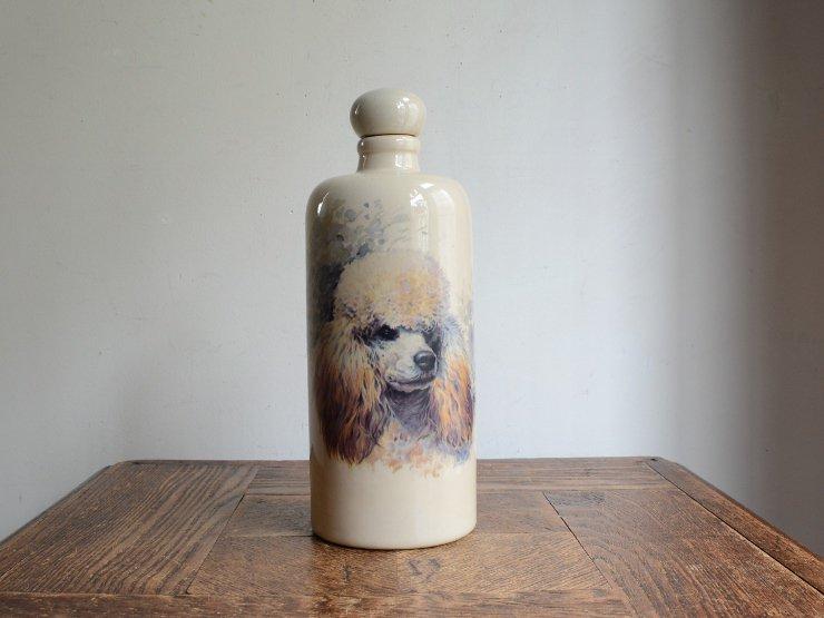 [new] ヴィンテージ プードルモチーフ陶器ボトル