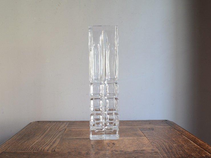 [new] ヴィンテージ ガラス フラワーベース (H23.5cm)