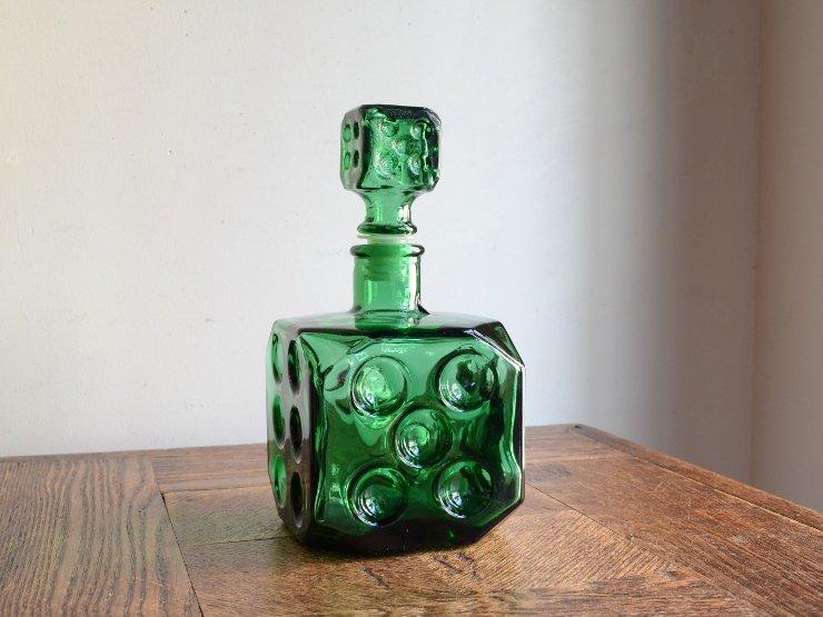 [new] ヴィンテージ サイコロ型 ガラスボトル デカンタ(H18cm)