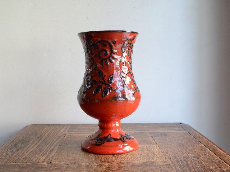 [new] ヴィンテージ 陶器フラワーベース(H20.5cm)