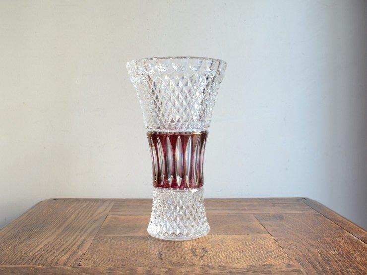[new] ヴィンテージカッティングガラス フラワーベース(H18cm)