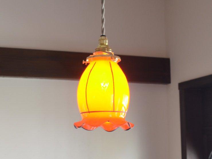 ヴィンテージ ガラス ペンダントランプ
