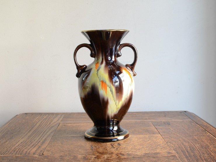 [new] ヴィンテージ 陶器フラワーベース(H17.5cm)
