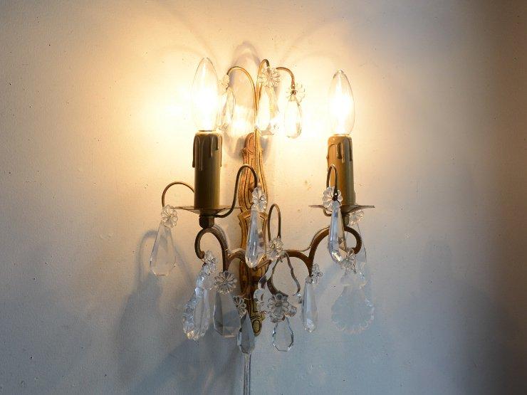 [new] アンティーク クリスタルガラス付 真鍮ウォールランプ