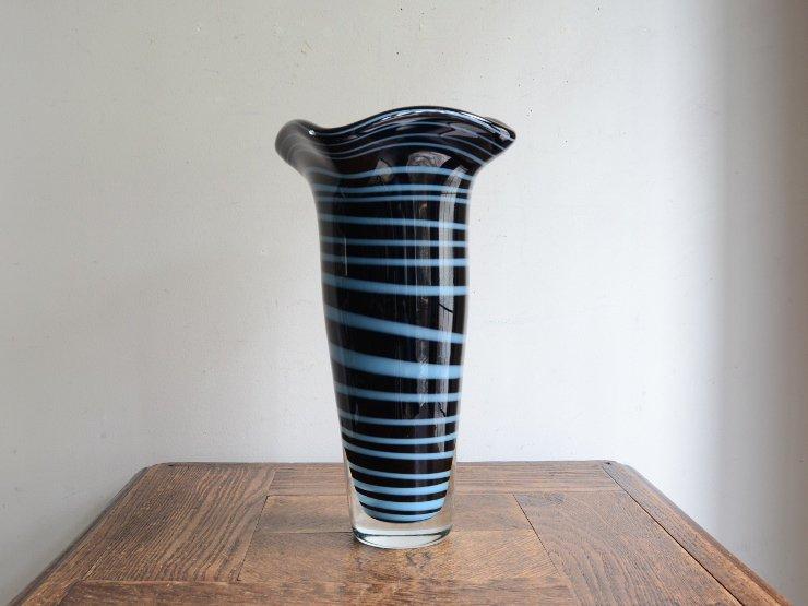 ヴィンテージガラス フラワーベース (H26.5cm)