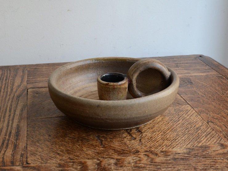 [new] ヴィンテージ 陶器キャンドルスタンド(H6cm)