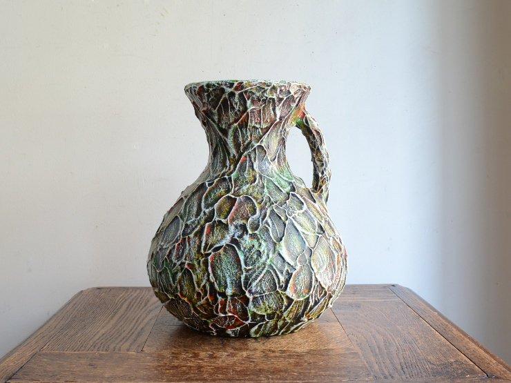 ヴィンテージ 陶器フラワーベース(H23cm)