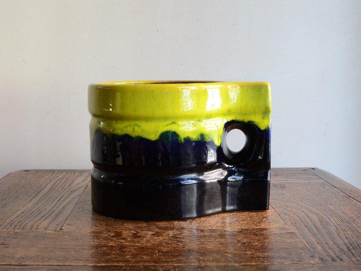 ヴィンテージ 陶器フラワーベース(H11.5cm)