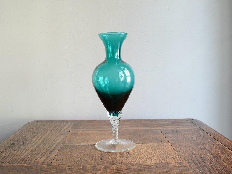 ヴィンテージ ガラス フラワーベース (H18.5cm)