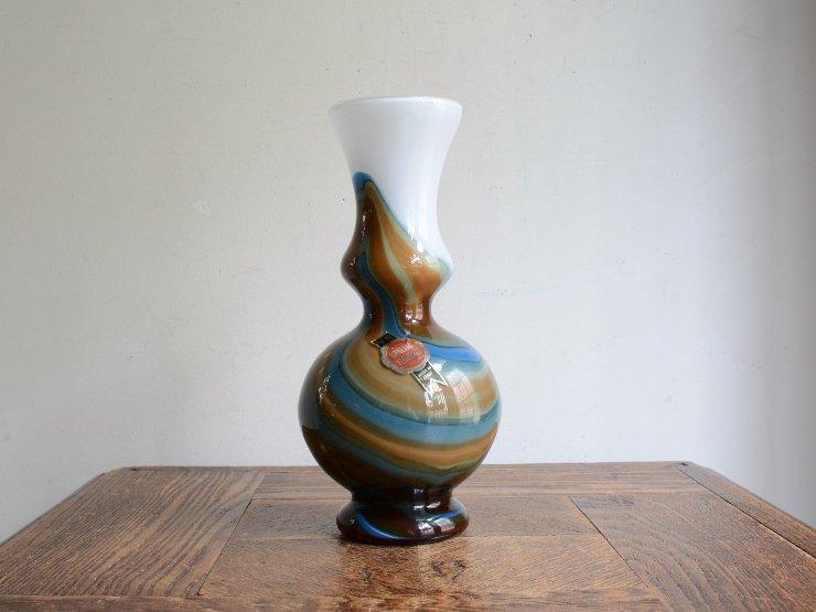 ヴィンテージ ガラス フラワーベース (H21cm)