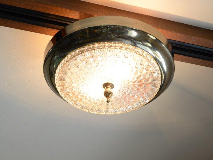 [new] ヴィンテージ 2灯カットガラス ランプ(天井照明)※直付専用