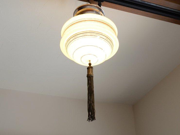 アール・デコ ミルクガラスランプ(天井照明)※直付専用