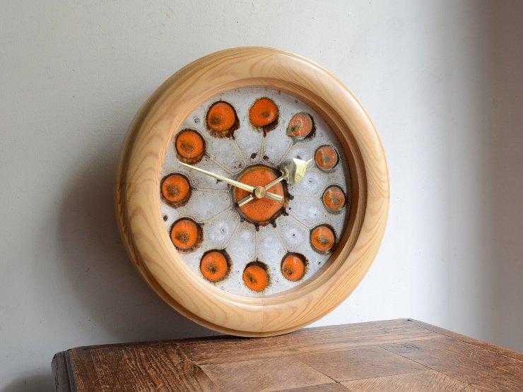 [new] ヴィンテージ タイル 木製ウォールクロック(壁掛け時計)